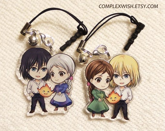 Reversible Howl's Moving Castle Charm - Howl Sophie and Calcifer