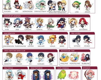 Assorted Stickers from Anime, movies, games and more