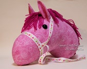 Stick Horse Head, Magical Pink Princess Horse with Glitter, MADE to ORDER, With or Without Stick