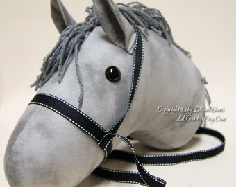 Grey Stick Horse with Black Bridle, MADE to ORDER, With or Without Stick