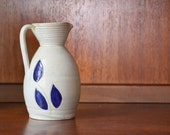 vintage williamsburg virgina cobalt salt glaze pottery pitcher