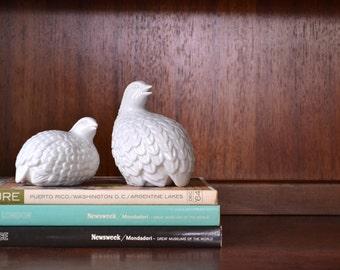 vintage 1960s porcelain OMC partridge figurines