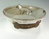 Ceramic dog food bowl, pottery dog bowl, stoneware dog bowl, shepherd dog, ceramic dog bowl, white glaze brown dog bone
