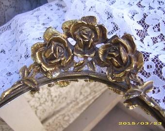 Vintage Gold Roses Large Size Oval Boudoir Dresser Mirror