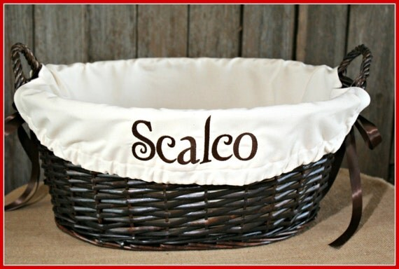 Wicker Basket with Embroidered  Liner, Custom Liner, Embroidered Liner, Wicker Basket with Custom Embroidered Liner