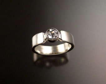 White Topaz Sterling Silver heavy band Natural stone ring made to order in your size Diamond substitute conflict free