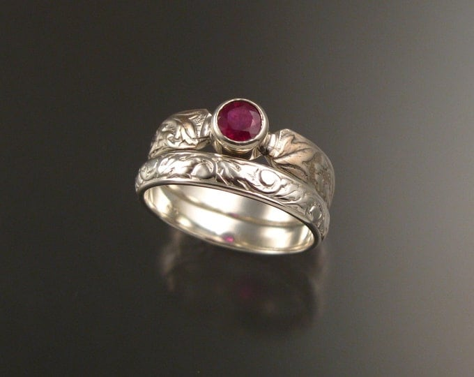 Ruby and Sterling Silver flower and vine pattern Natural stone wedding ring set made to order in your size Victorian ring set