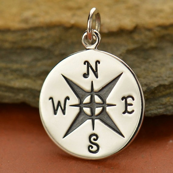 sterling silver compass charm c1491 by carolinabeadshop on