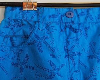 Vintage Palm Print Skirt XXS XS Blue Summer Festival Pencil Wiggle Extra Small 90s
