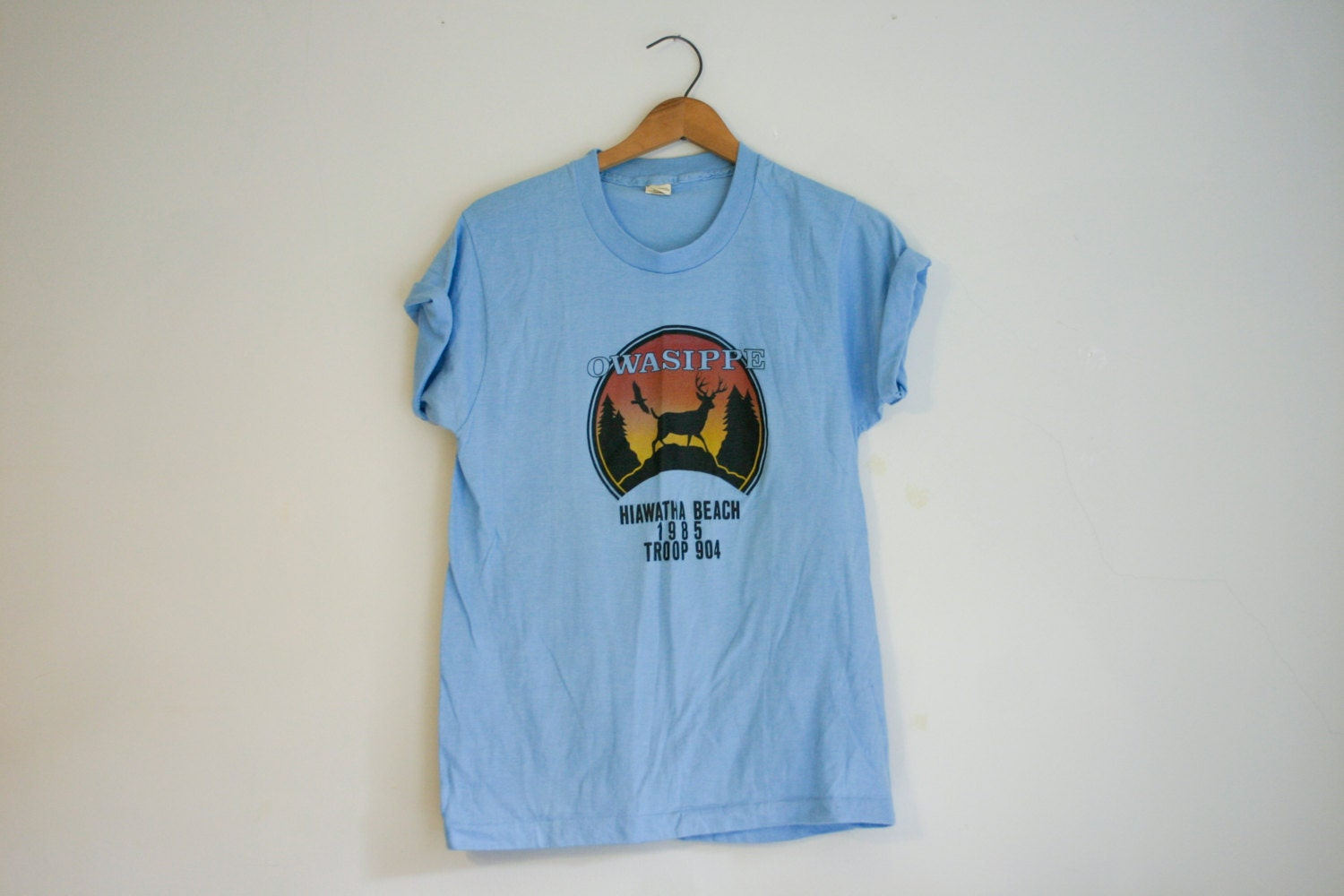 Vintage boy scouts owasippe hiawatha beach screen print t for Vintage screen print t shirts