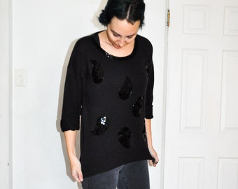 1980s Black Sequins Embellished Beaded  Dramatic Sweater Top Shirt