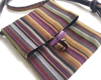 Purple Striped Small Shoulder Purse Travel  Passport Bag Sac Tag Along Bag Essentials Bag Lined Upholstery Fabric Bag