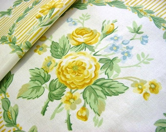 Vintage 90s Jane Churchill English Rose Floral Decorator Fabric -Yellow Blue Sage Green -Cotton Wallpaper Print Medallion Stripe