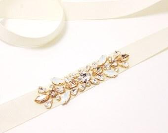 Simple Elegant Crystal Bridal Sash- Crystal Bridal Belt- Swarovski Crystal Bridal Sash