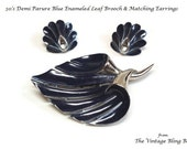 50s Midnight Blue Enamel Leaf Brooch and Matching Earrings Demi Parure in Silver Modernist Motif - Retro Moderne 50's Jewelry Sets