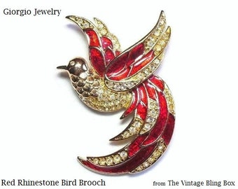 Designer Giorgio Rhinestone & Red Enamel Bird of Paradise Brooch with Pave Set Crystals on Gold Figural Motif - Vintage 70's Costume Jewelry