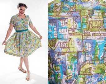 Vintage 1960s Novelty Print Dress -  Plus Size Summer Fashions