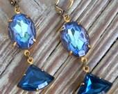 Vintage Blue Sapphire Rhinestone Earrings