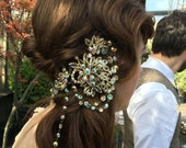 Yvonne - STUNNING Vintage Crystal Couture hairpiece OR Necklace Assemblage - SALE, Was 195.00