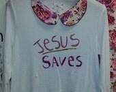 Jesus Saves Tee with printed collar