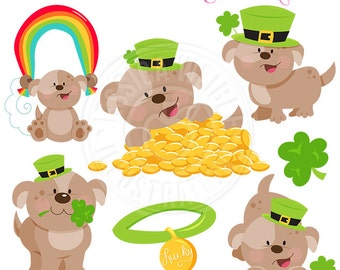 Lucky Dog Cute Digital Clipart - Commercial Use OK - St. Patricks Day Graphics, St. Patricks Day Puppy Clipart