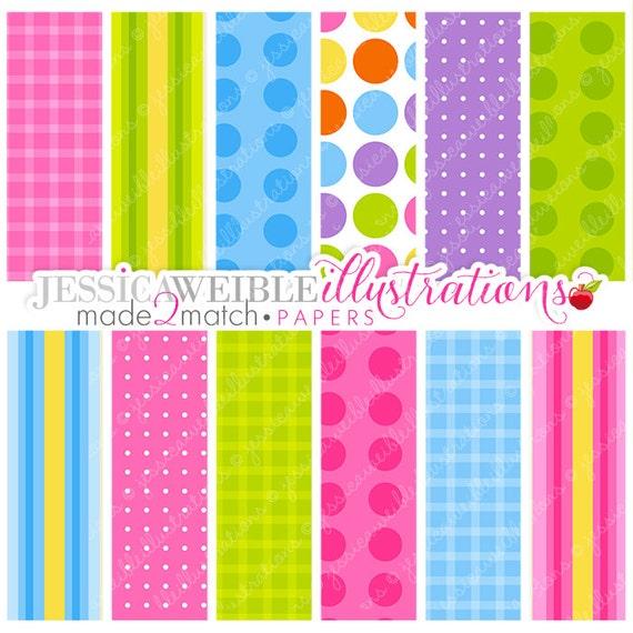 Easter Friends Papers, Bright Color Gingham Dots Stripes Digital Papers, Digital Download, Digital Backgrounds, Digital Print, Made 2 Match