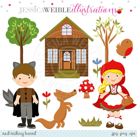 Red Riding Hood Cute Digital Clipart, Red Riding Hood Graphics, Forest Clip Art, Woodland Clip Art, Wolf Clipart, Instant Download