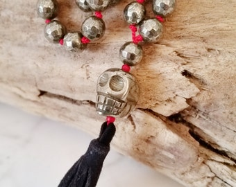 Luxe Knotted Faceted Pyrite Necklace w Day of the Dead Pyrite Scull