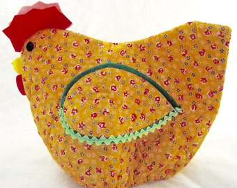 Chicken Tea Cozy, Vintage Fabric Cover Made of Golden Calico Print Material