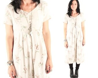 MIELLE 90s Sweet Beige Linen Earthy Bohemian Floral Earth Tone Baby Doll Abalone Button Folk Rustic Indie Hippie Day Dress Maxi Garden Small