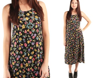 CLOVER 90s Sweet Black Bright Yellow Pink Floral Rosebuds Tank Sundress Grunge Grungy Shabby Chic Maxi Dress Gown Beach Babe New Age Boho M