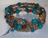 Turquoise and Jasper Memory Wire Bracelet