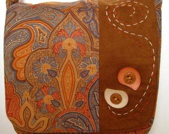 handbag brown, blue and orange paisley pattern messanger bag