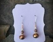 Copper Crystal Sterling Silver Earrings, Copper Dangle Silver Earrings, Brown Crystal Sterling Earrings