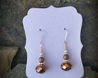 Copper Crystal Sterling Silver Earrings, Copper Dangle Silver Earrings, Brown Crystal Sterling Earrings