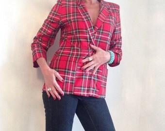 vintage tartan blazer / red plaid jacket / scottish 80s hipster size plus size