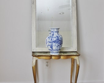 Very Old White Wood Framed Mirror