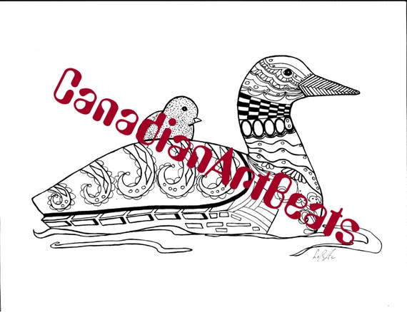 loon coloring page - downloadable loon and baby zentangle inspired by