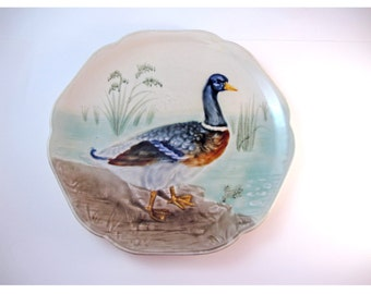 Vintage Majolica Choisy Le Roi Plate with Duck Frog and Pond