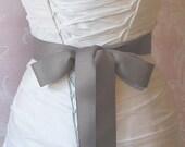 Gray Grosgrain Ribbon, 1.5 Inch Wde, Grey Ribbon Sash,  Bridal Sash, Wedding Belt, 4 Yards
