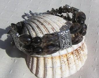 "Smoky Quartz Crystal Gemstone Bracelet ""Temptress"", Quartz Bracelet, Chakra Bracelet, Silver Bracelet, Brown Bracelet, Grounding Bracelet"