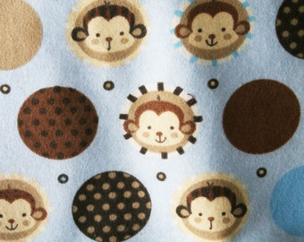 Monkey Faces Flannel Pillowcase