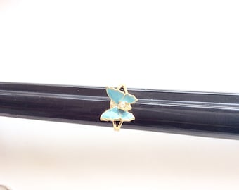 butterfly ring vintage teal blue butterfly ring gold tone adjustable costume ring