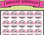 "EDITABLE Pink & Zebra Girly Soccer - INSTANT DOWNLOAD 1"" Bottle Cap Images 4x6 - 038e"