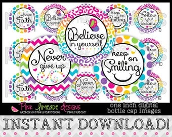 "Girly Inspiration - INSTANT DOWNLOAD 1"" Bottle Cap Images 4x6 - 745"
