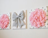 """Pink, White & Gray Wall Decor - Flowers and Gray Bow on Polka Dot 12 x 12"""" Canvases Wall Art - Baby Nursery Wall Art"""