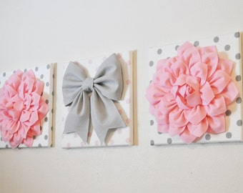 "Pink, White & Gray Wall Decor - Baby Nursery Wall Art - Flowers and Gray Bow on Polka Dot 12 x 12"" Canvases Wall Art"