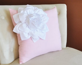 White Corner Dahlia Flower on Light Pink Pillow Accent Pillow Throw Pillow 16 x 16 Toss Pillow