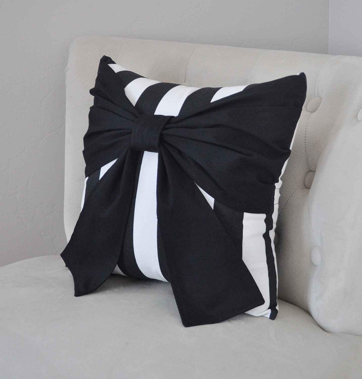 Throw Pillow With Bow : Throw Pillow Black Bow on Black and White Stripe Pillow 14x14