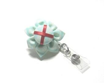 Aqua Polka Dot Retractable Badge Reel, Lanyard, ID Badge Holder, Employee id, Student id, Nurse id, Doctor id, Dentist id, Flower Badge Reel